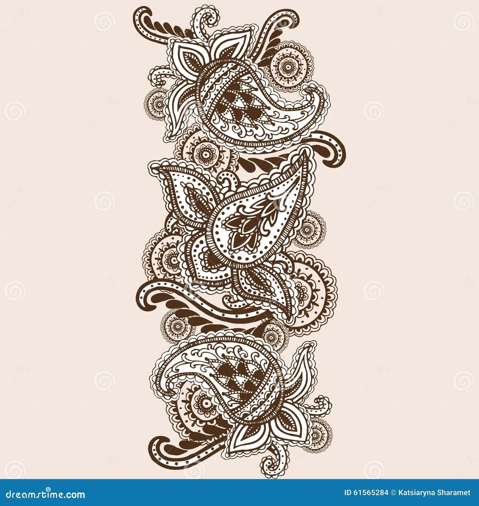 Hand Drawn Henna Mehndi Abstract Mandala Flowers And