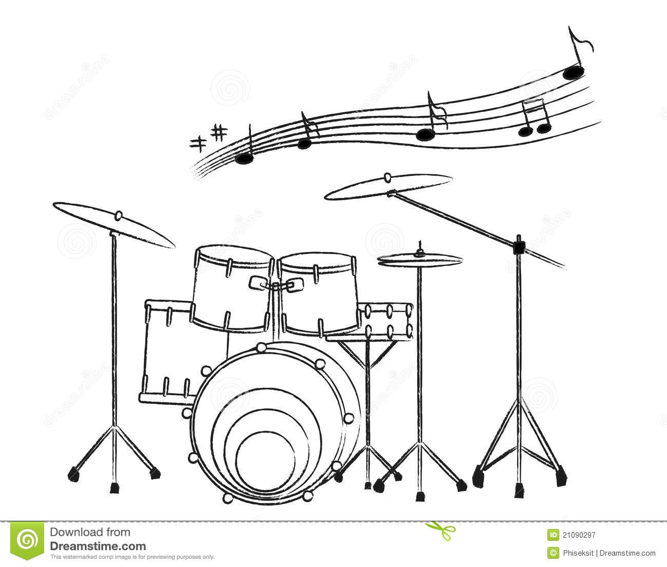 Hand Drawn Illustration Of A Drum Set On White Bac Royalty