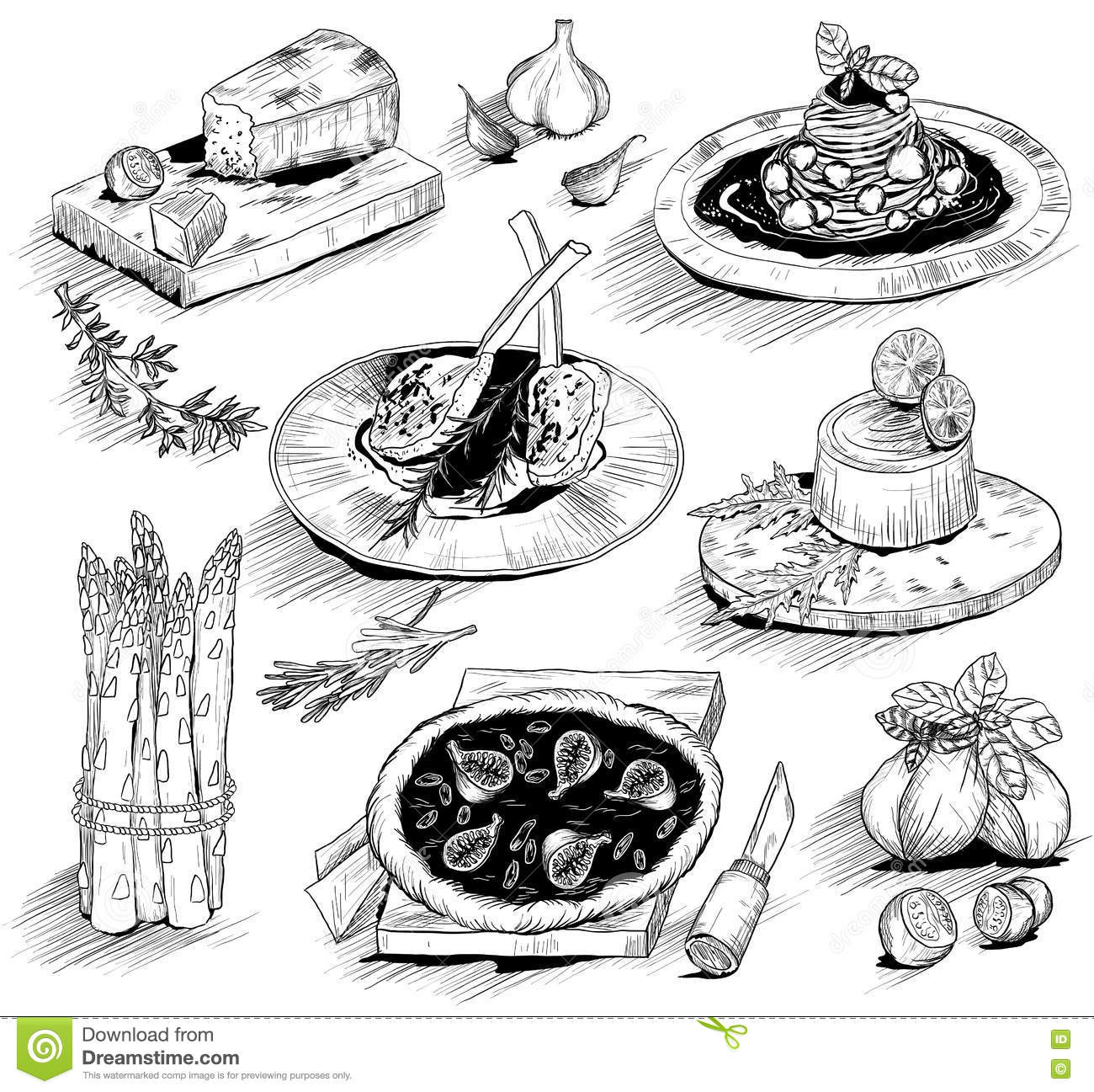 Hand Drawn Illustration With Italian Food Stock Vector