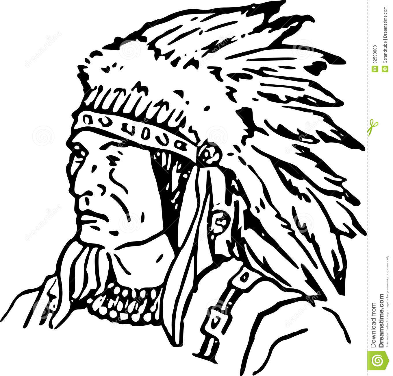 Hand Drawn Indian Chief Eps Stock Vector