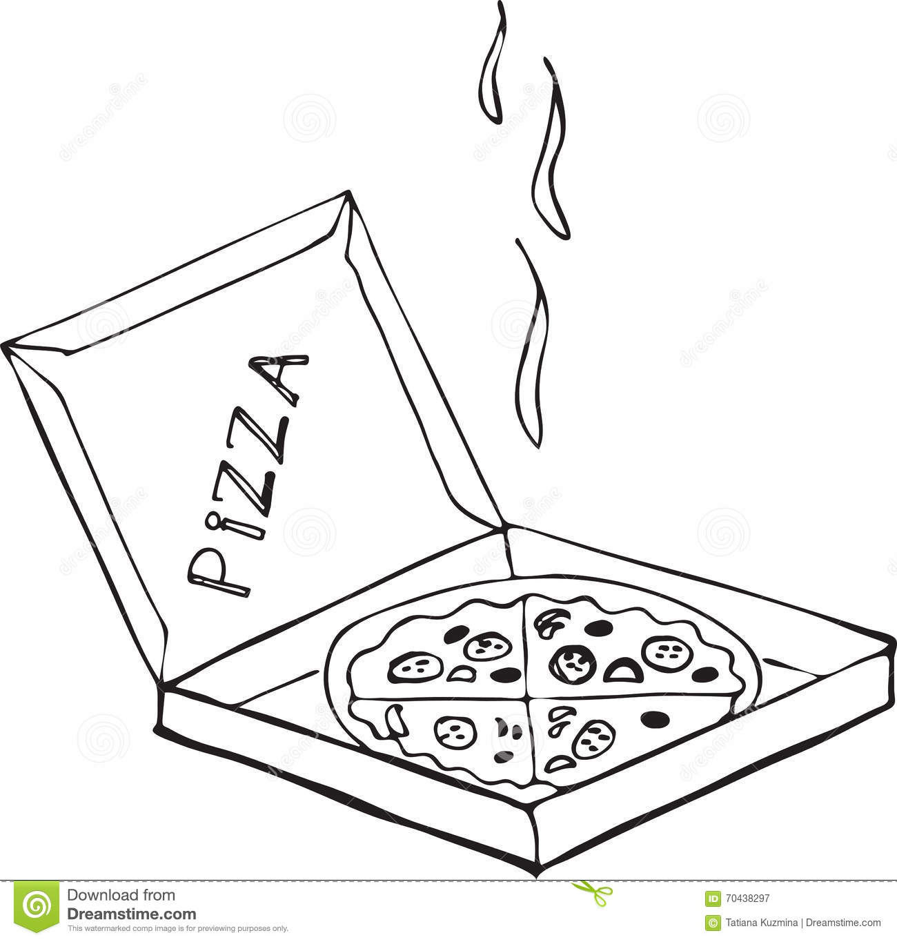 Hand Drawn Isolated Pizza On The Box On A White Background