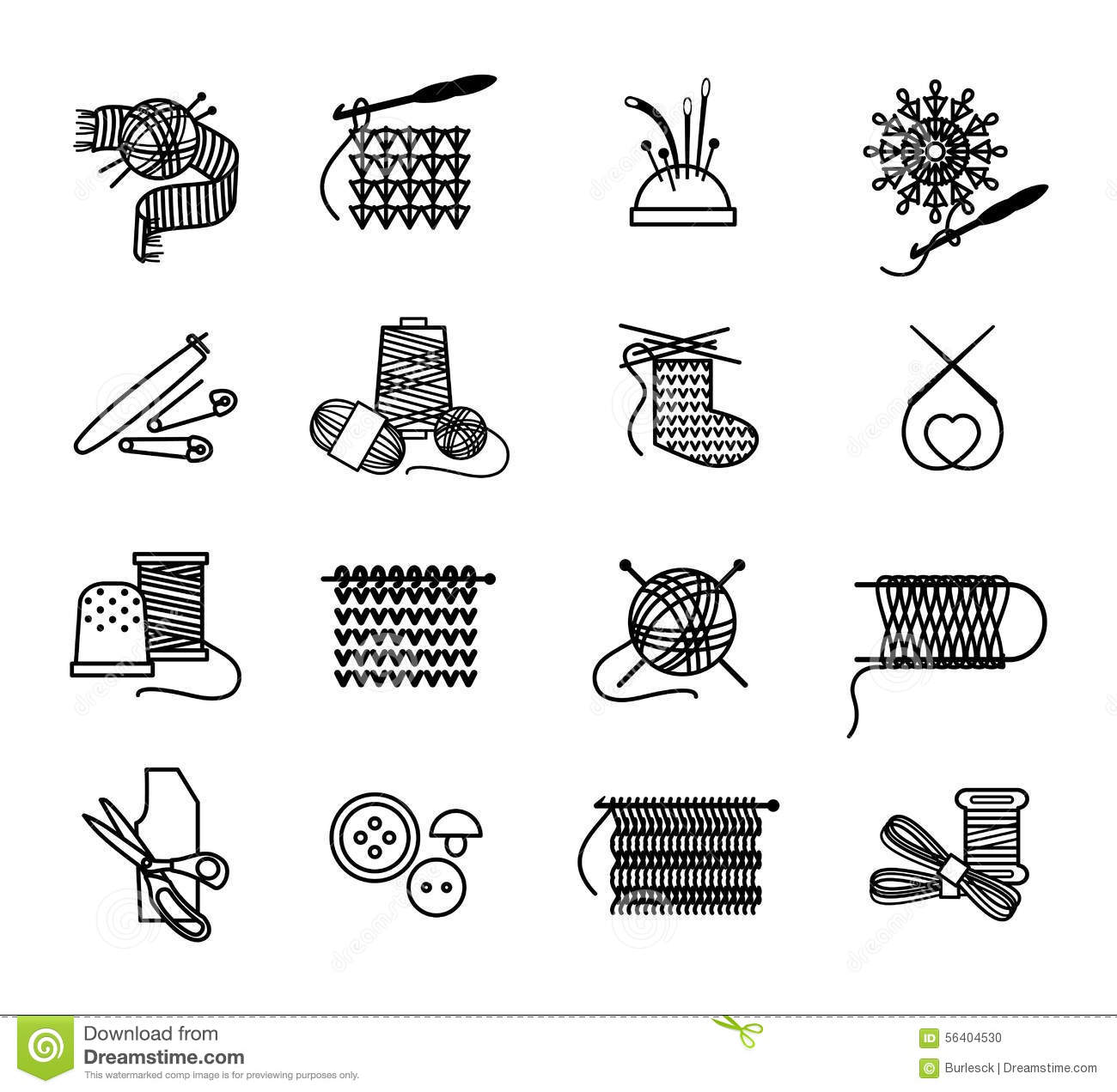 Hand Drawn Knitting Embroidering And Sewing Icons Stock