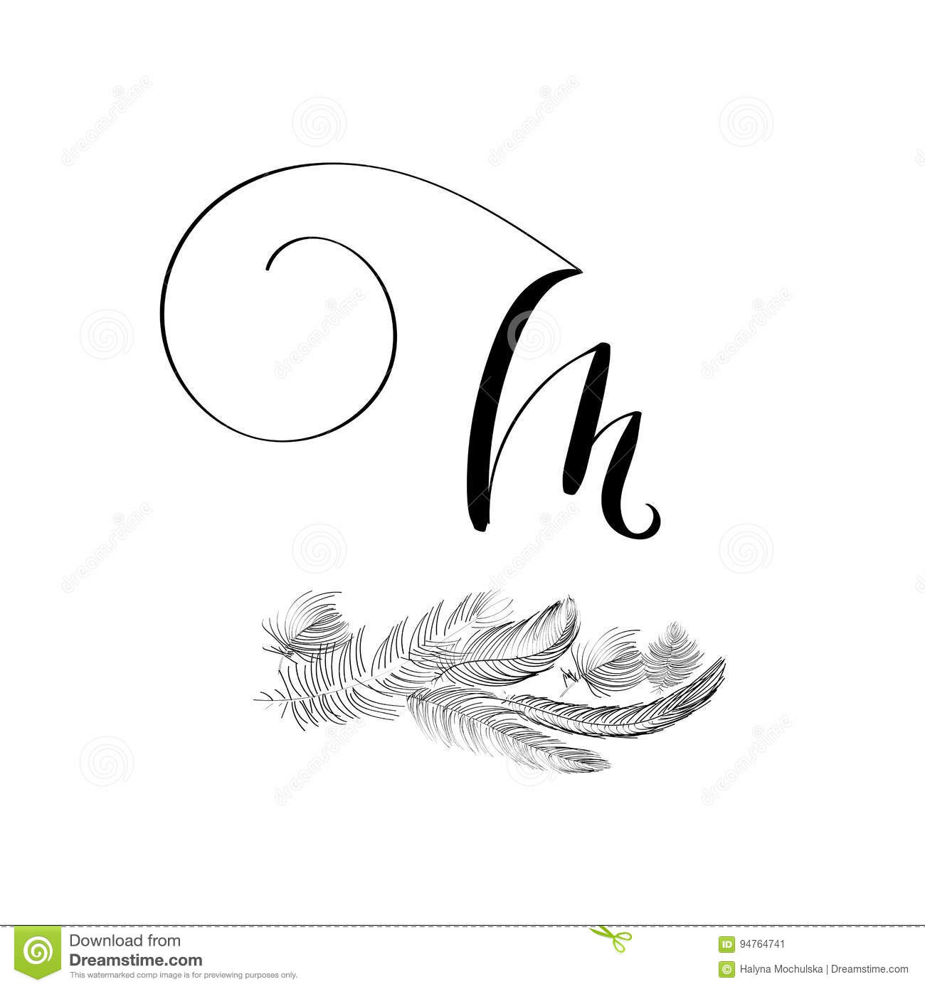 Hand Drawn Lettering Letter M In Modern Calligraphy Style