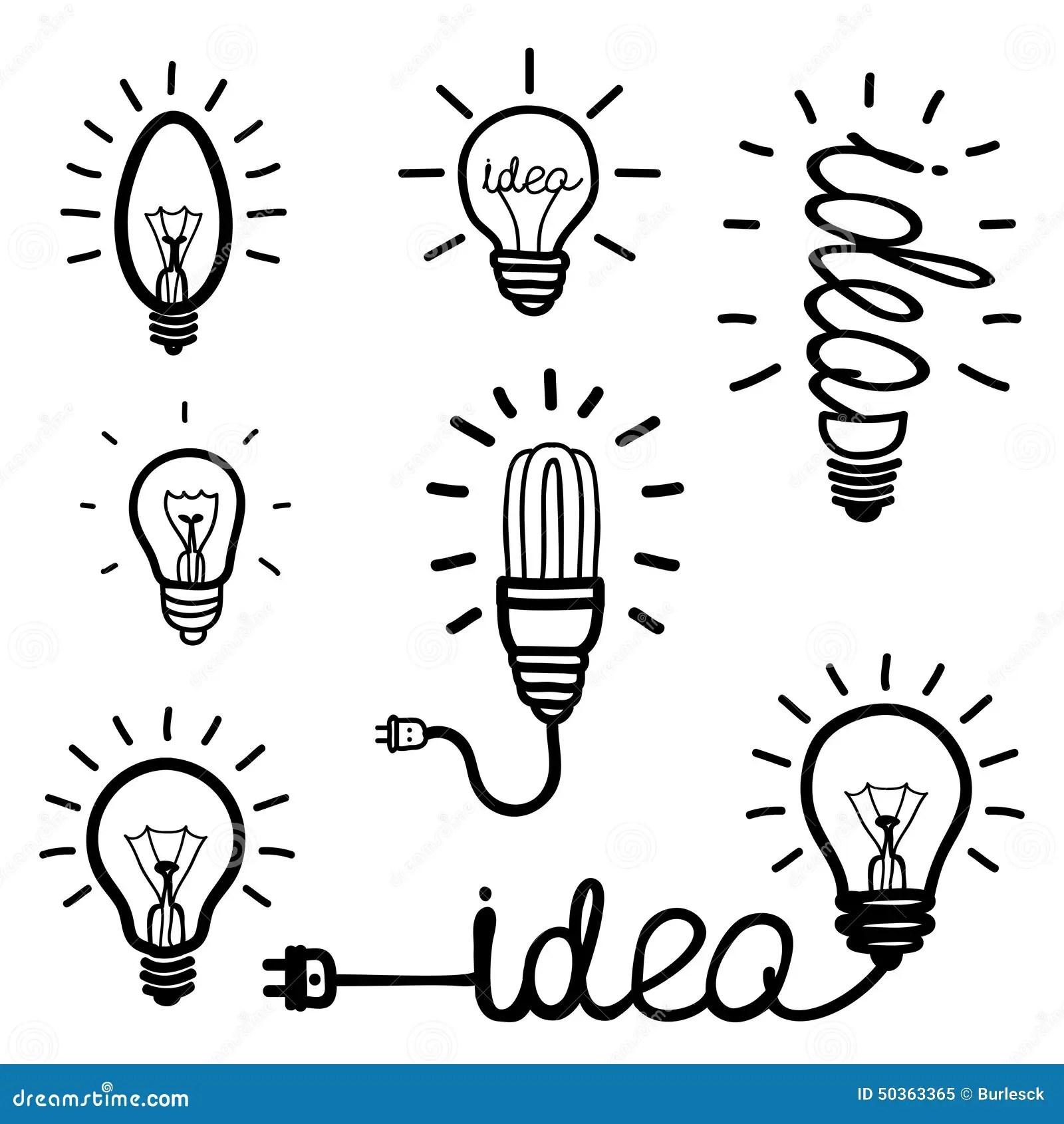 Hand Drawn Light Bulb Icons Stock Vector