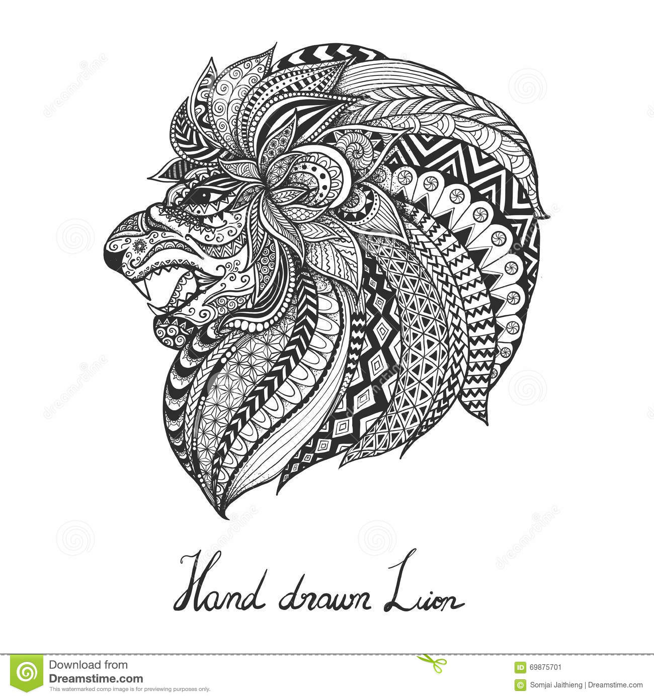 Hand Drawn Lion Zentangle Style Stock Vector