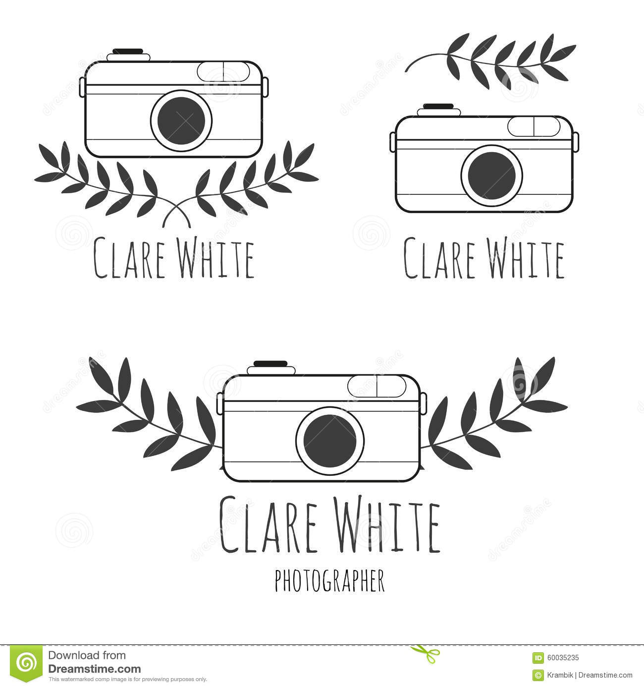 Hand Drawn Logo For Photographer With Camera Stock Vector