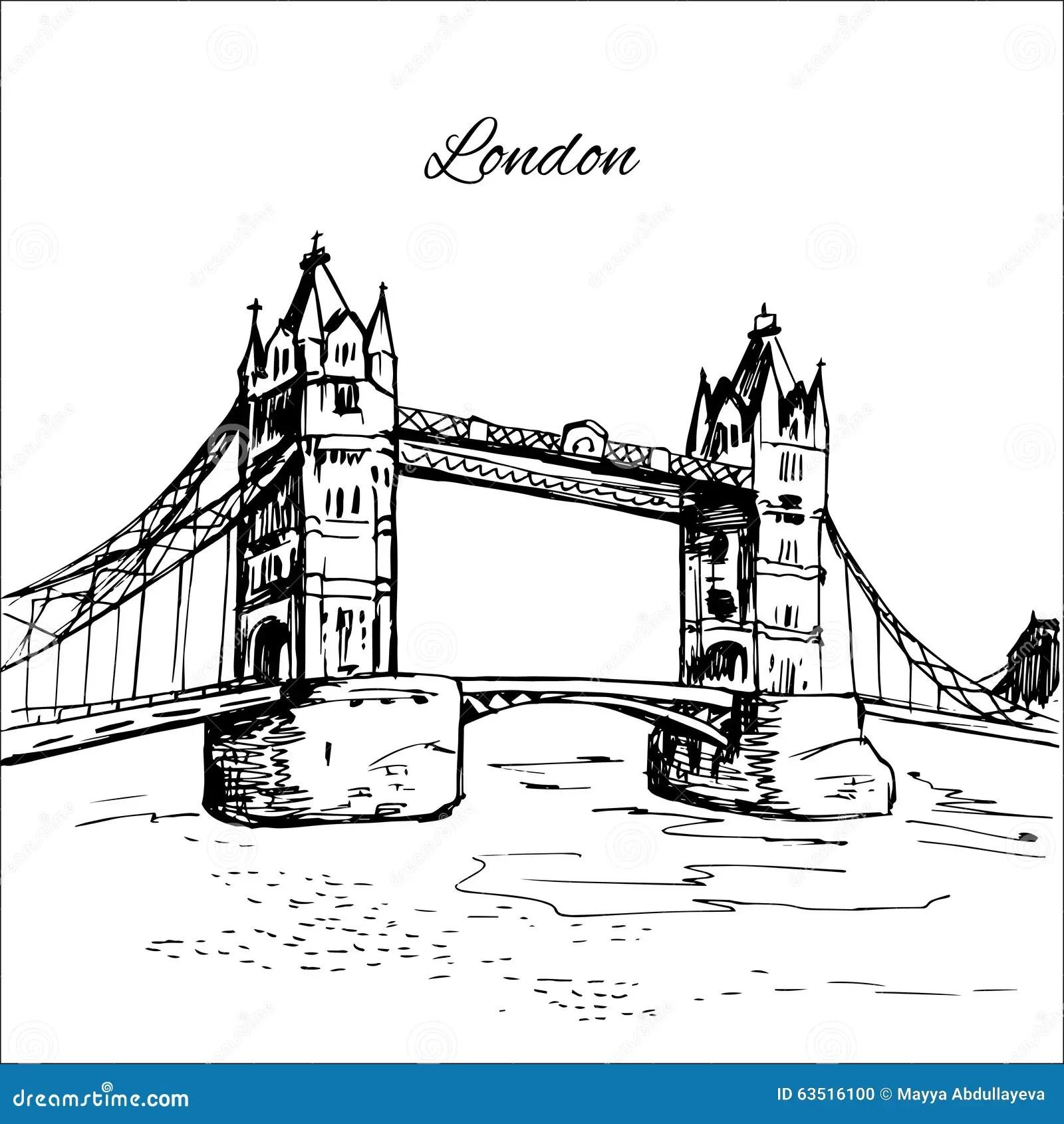 Hand Drawn London Tower Bridge Stock Vector