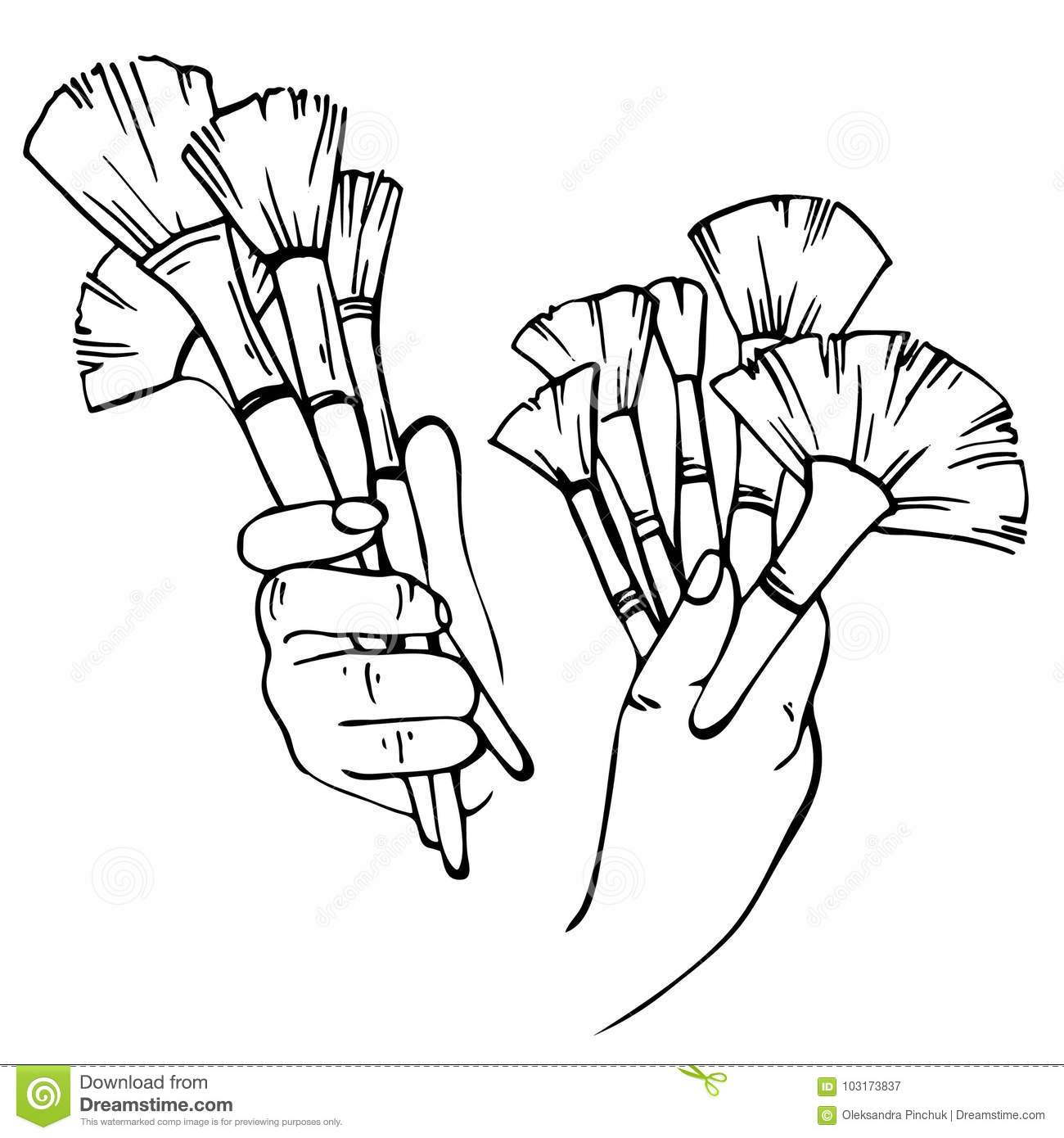 Sketch Hands Of Makeup Artist With Brushes Stock Vector