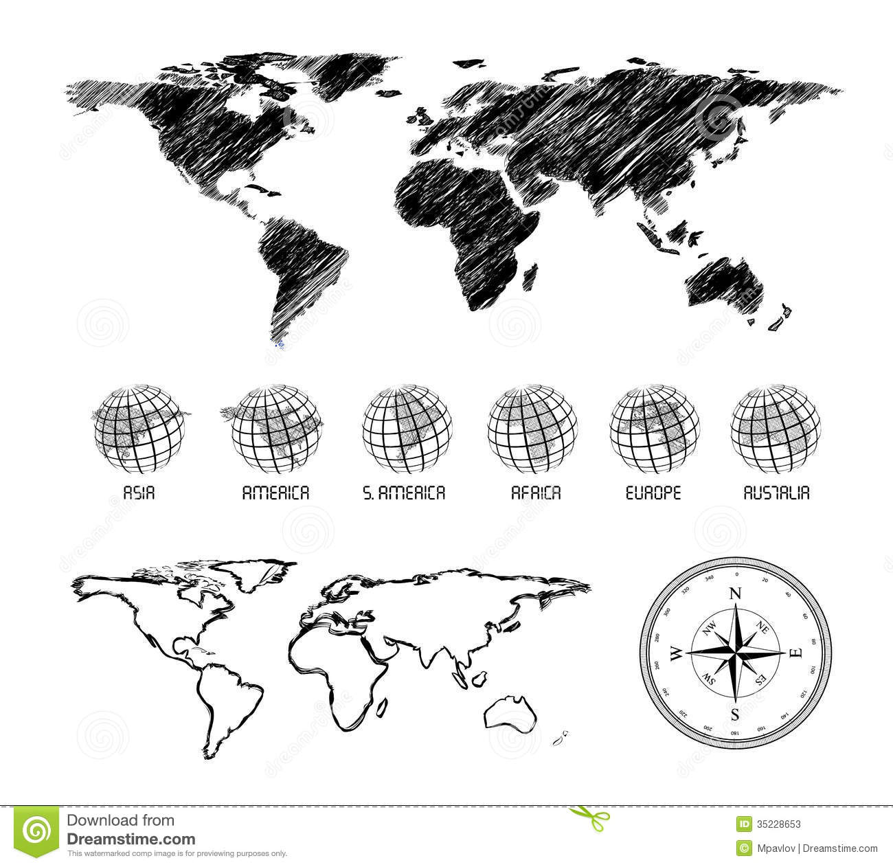 Hand Drawn Map Of The World Stock Vector Image 35228653