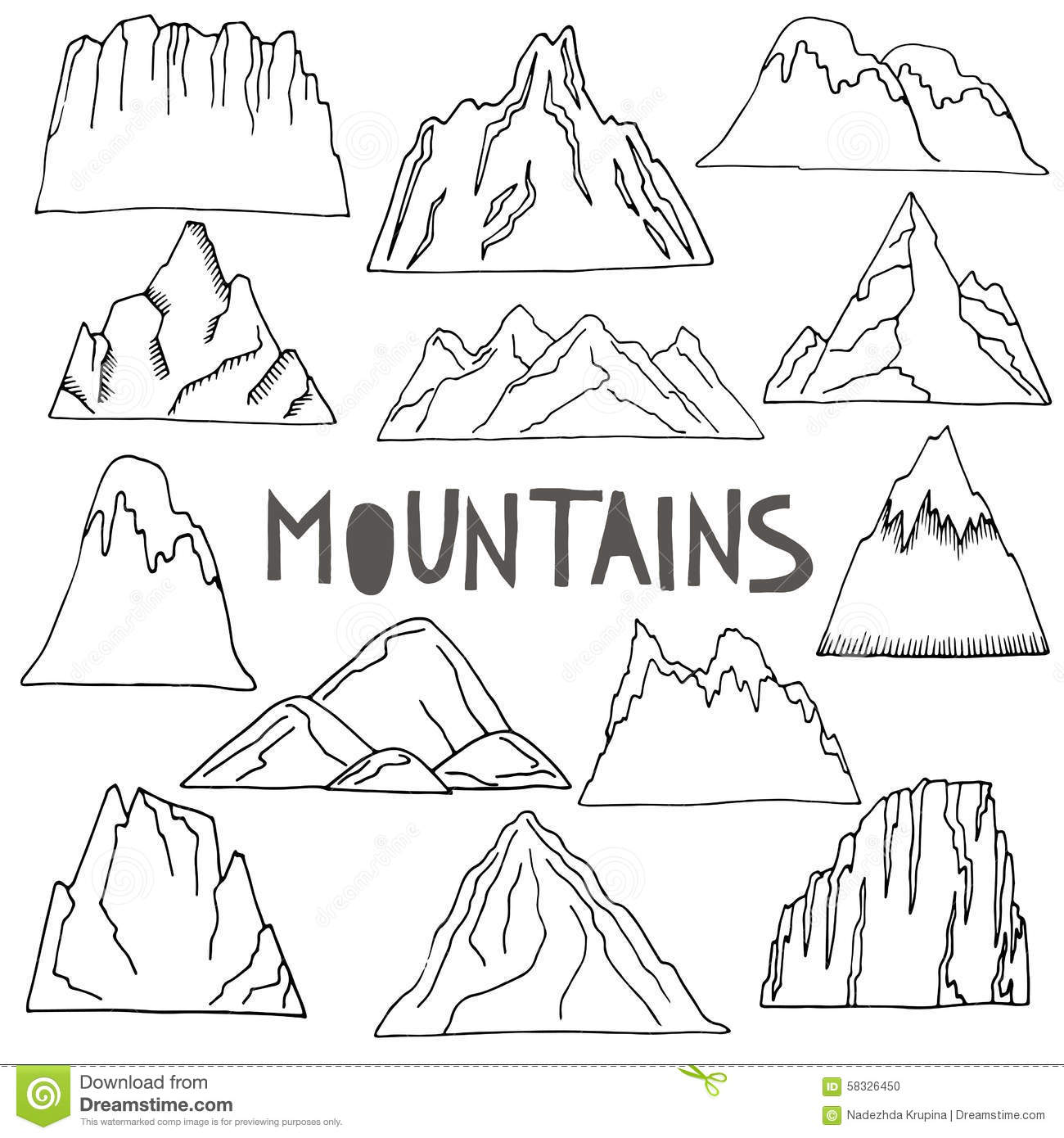Hand Drawn Mountains Set Stock Vector Illustration Of