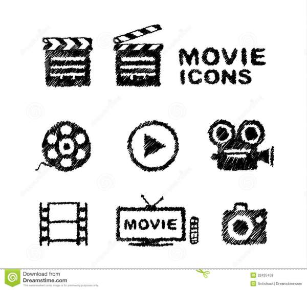 Hand Drawn Movie Icon Set Isolated On White Royalty Free ...