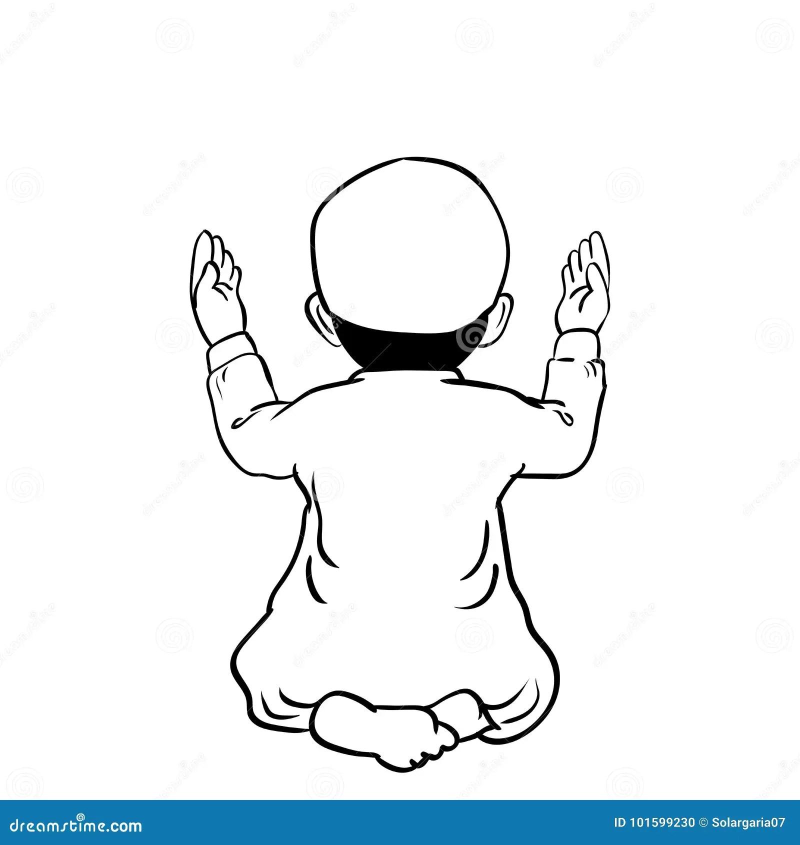 Hand Drawn Muslim Boy Praying Vector Cartoon Illustration