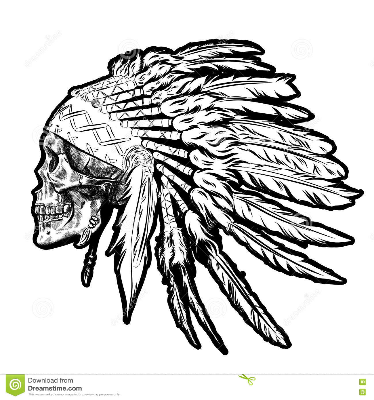 Hand Drawn Native American Indian Feather Headdress With