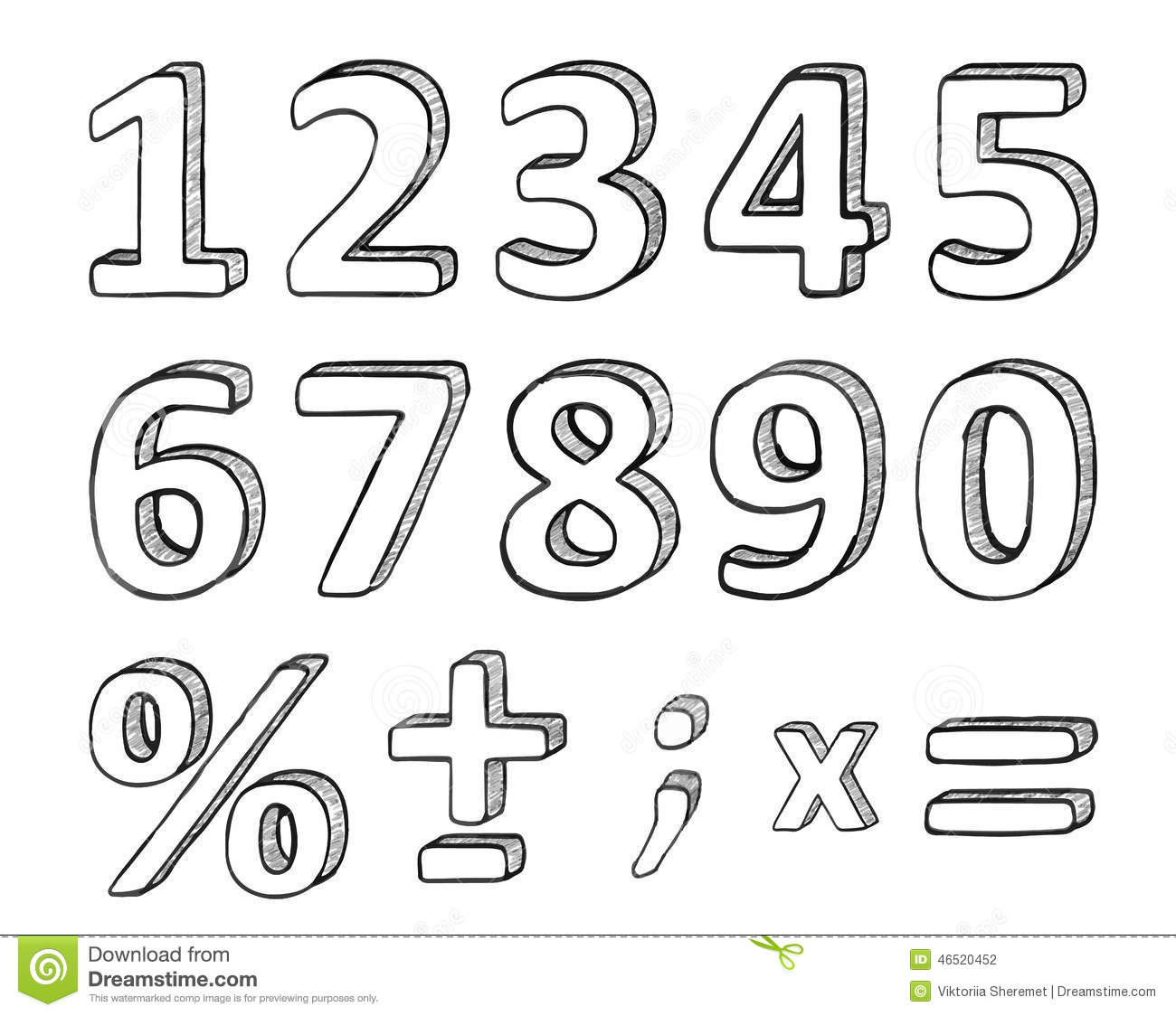 Hand Drawn Numbers Vector Illustration Stock Vector