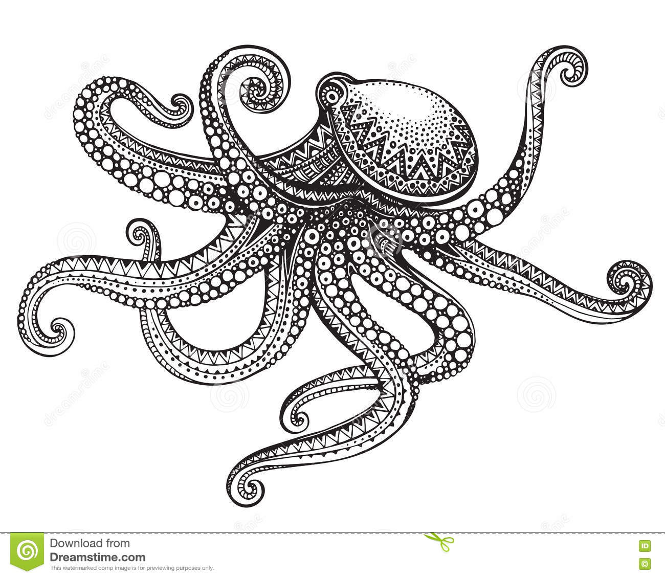 Hand Drawn Octopus In Graphic Ornate Style Stock Vector