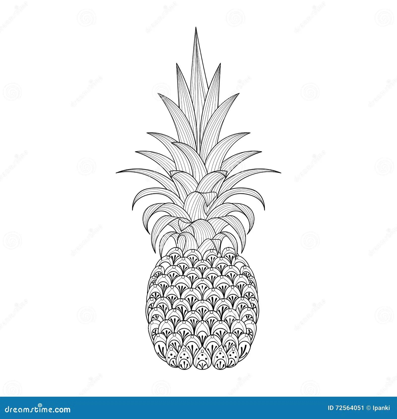 Hand Drawn Ornate Pineapple Zentangle Tribal Exotic Fruit