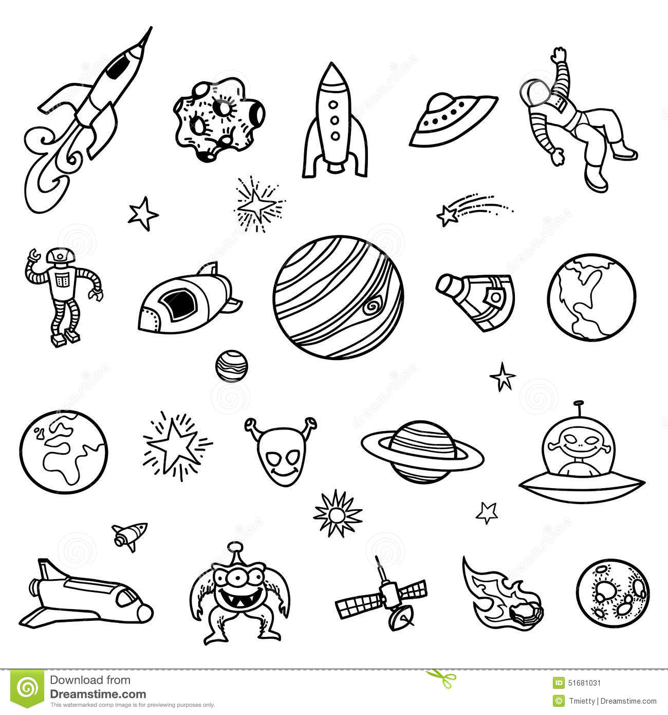 Hand Drawn Outer Space Doodles Stock Vector