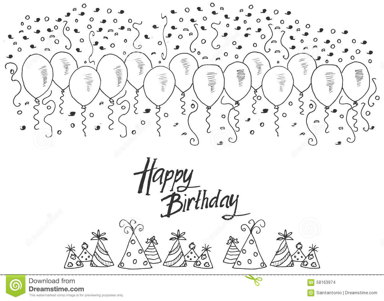 Hand Drawn Party Background With Balloons Confetti And
