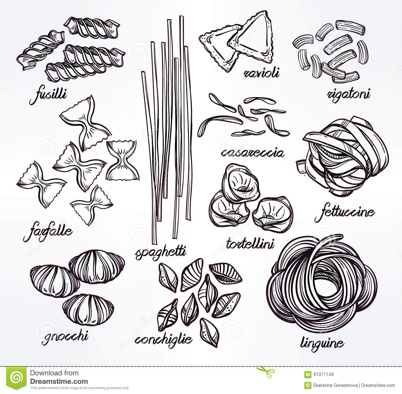Hand Drawn Pasta Variations Set Stock Vector
