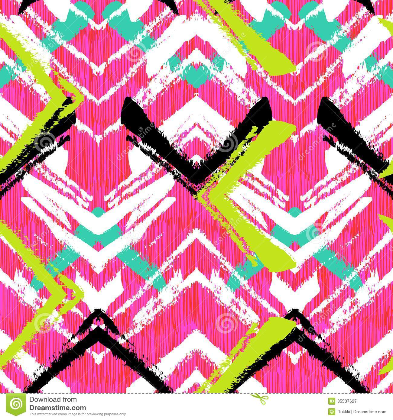 Hand Drawn Pattern With Brushed Zigzag Line Royalty Free