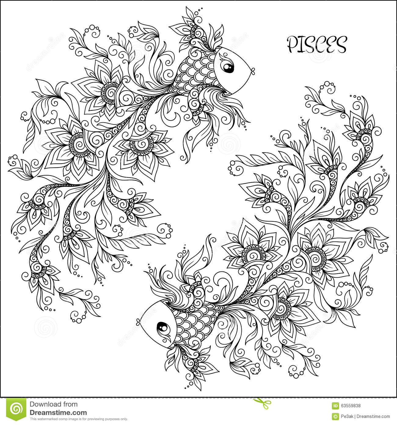 Hand Drawn Pattern For Coloring Book Zodiac Pisces Stock