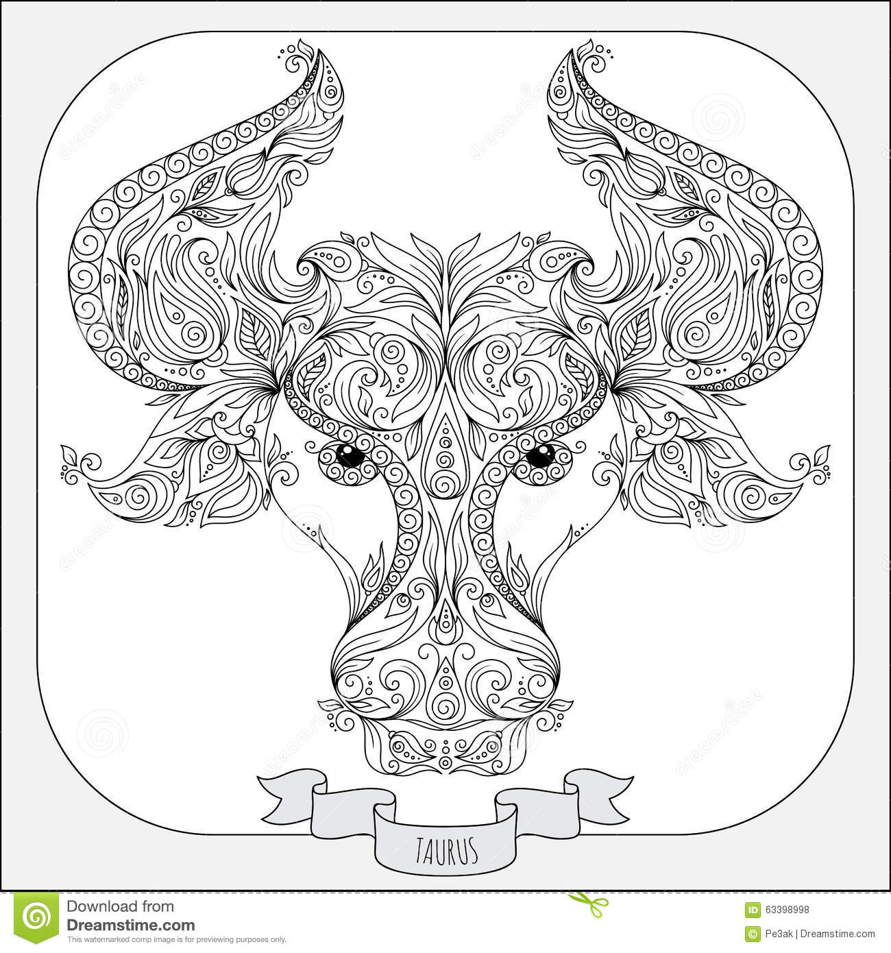 Hand Drawn Pattern For Coloring Book Zodiac Taurus Stock