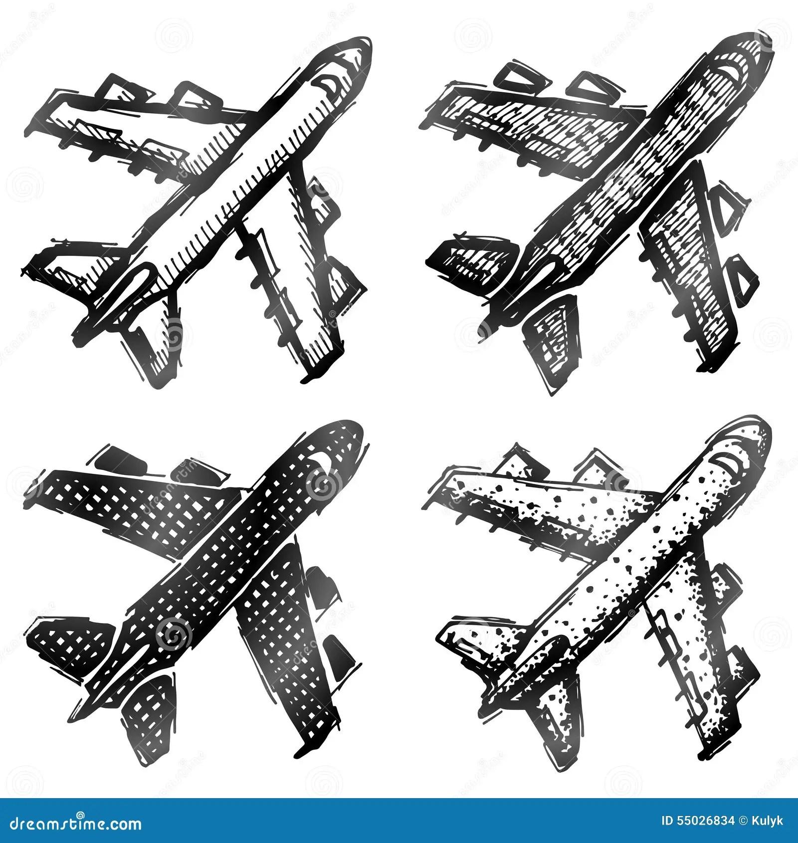 Hand Drawn Plane Symbol Top View Stock Vector