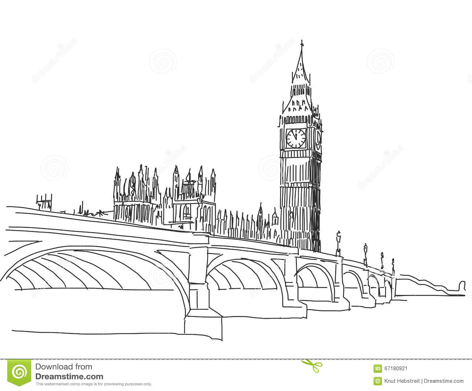 Hand Drawn Popular View Big Ben And Westminster Bridge