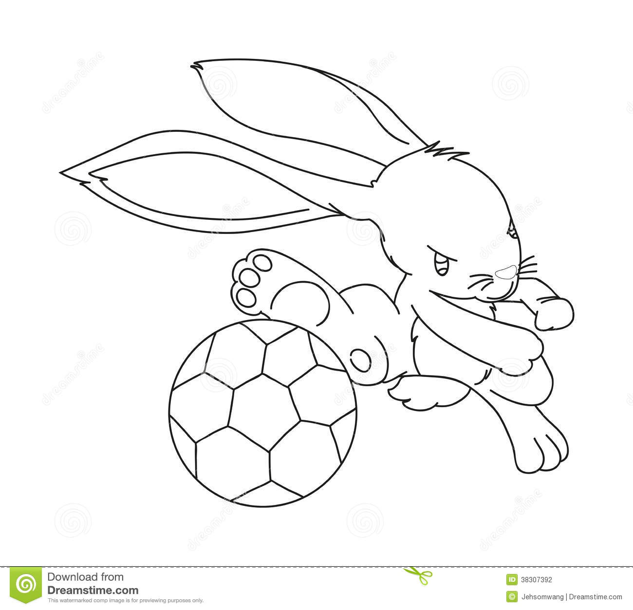 Hand Drawn Rabbit Playing Football Stock Vector