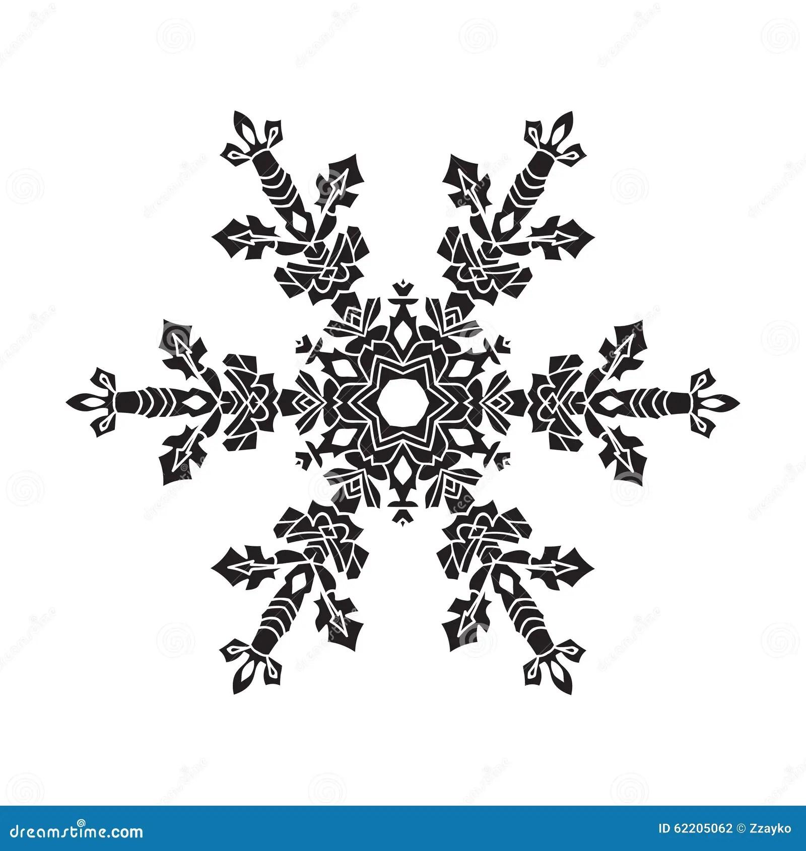 Hand Drawn Realistic Silhouette Snowflake Black On White