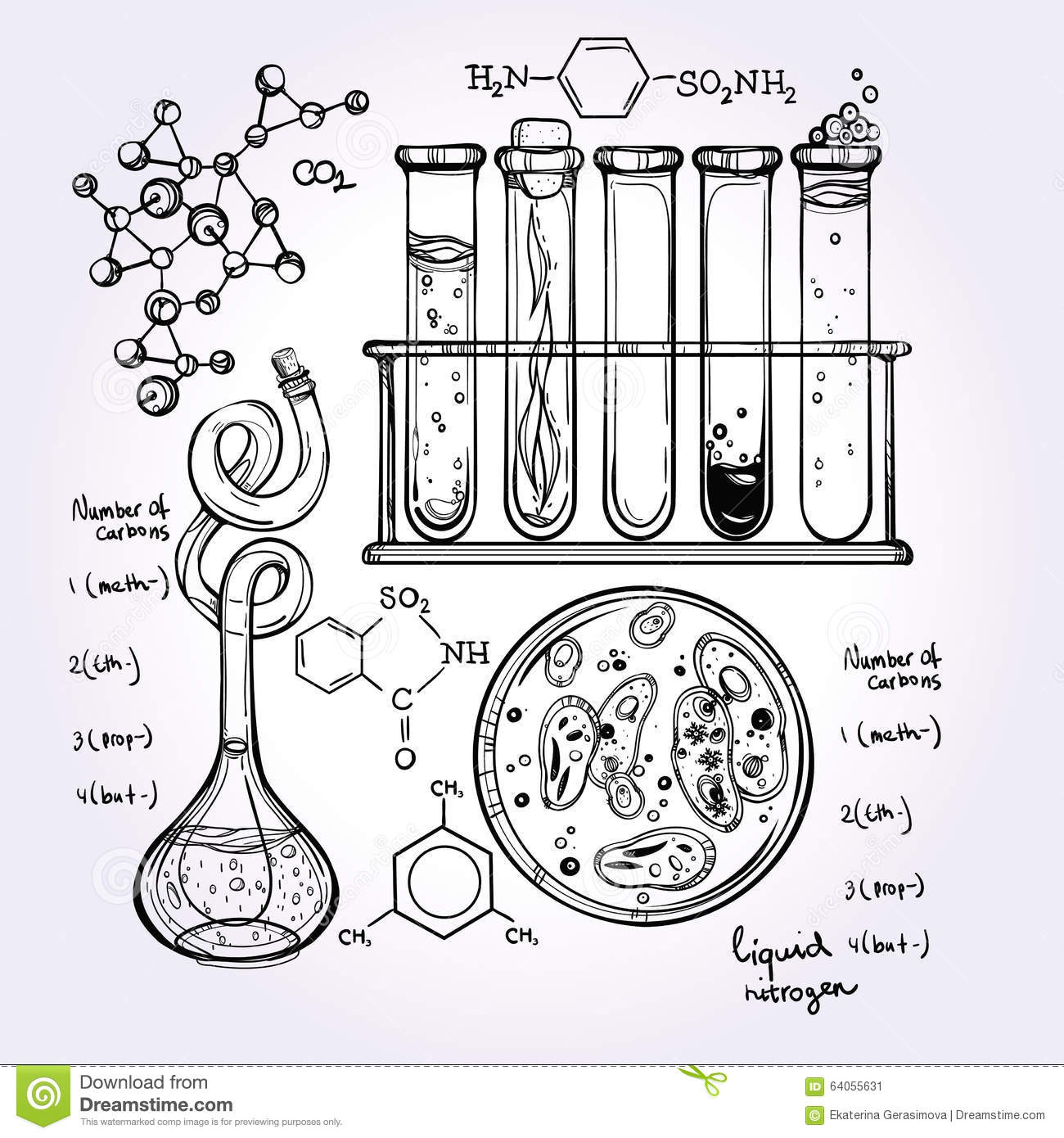Hand Drawn Science Lab Icons Sketch Set Vector Illustration