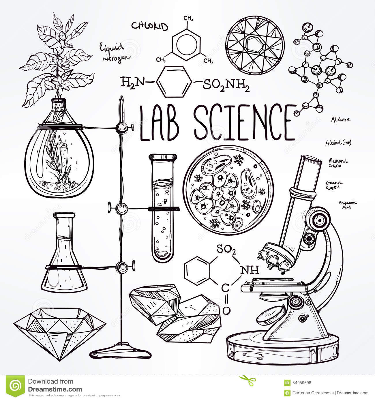 Set Of Hand Drawn Science Icons Vector Illustration