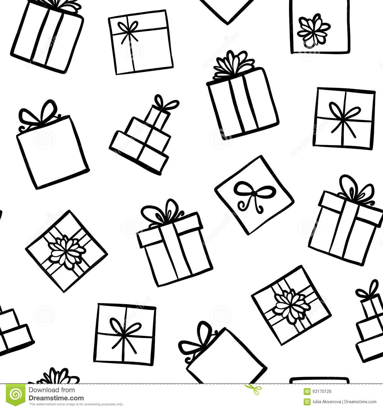 Hand Drawn Seamless Pattern With Gift Boxes Stock Vector