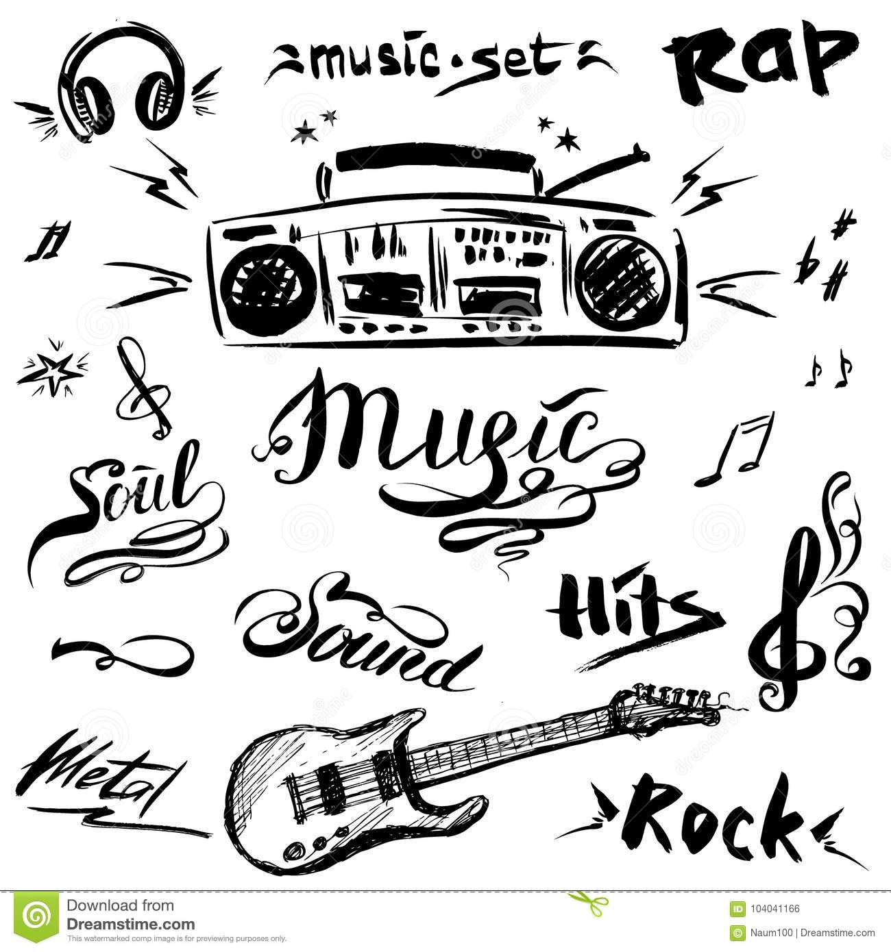 Guitar Player Sketch Stock Images