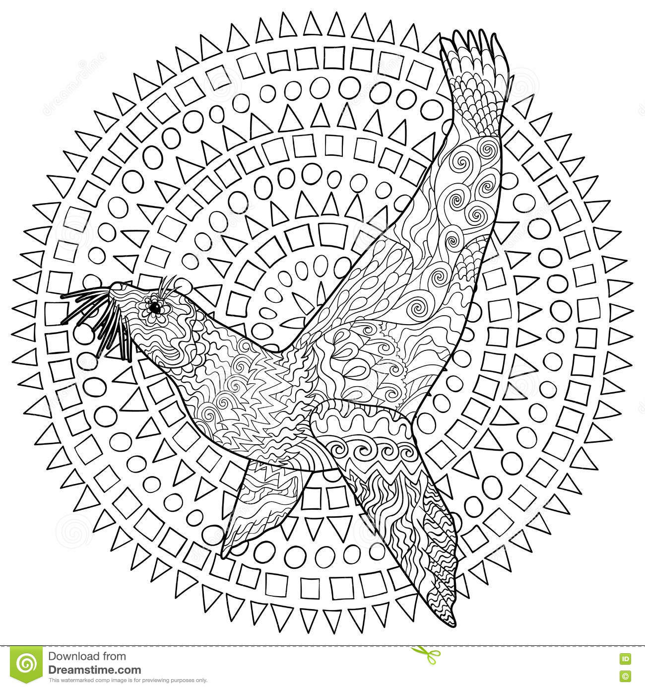 Hand Drawn Swimming Seal With High Details Vector