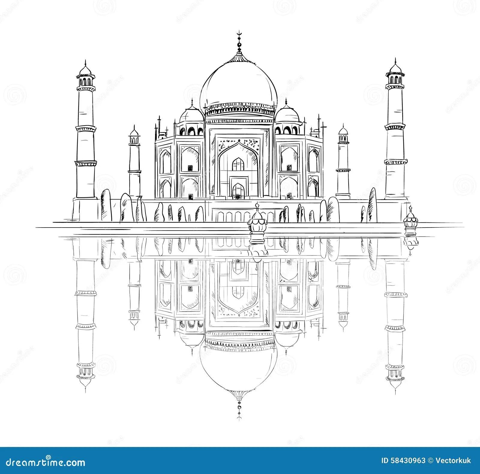 Hand Drawn Taj Mahal With Reflection Stock Vector