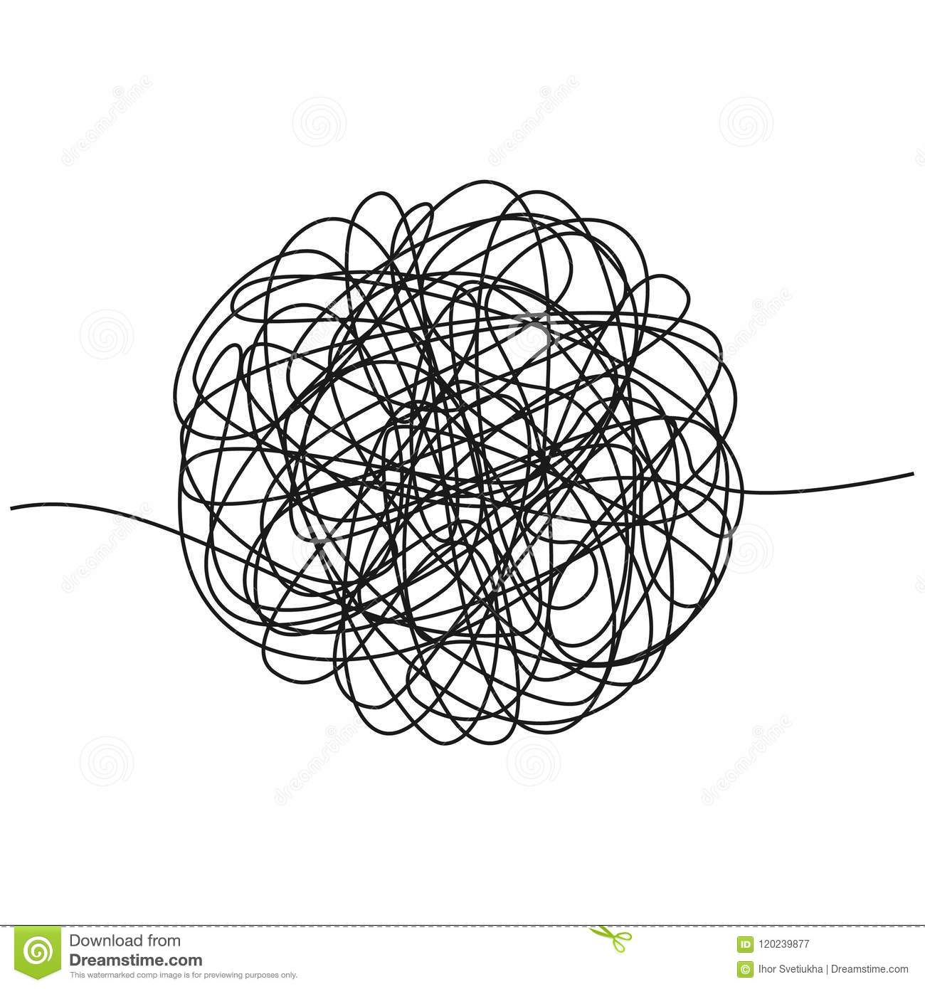 Hand Drawn Tangle Of Tangled Thread Sketch Spherical