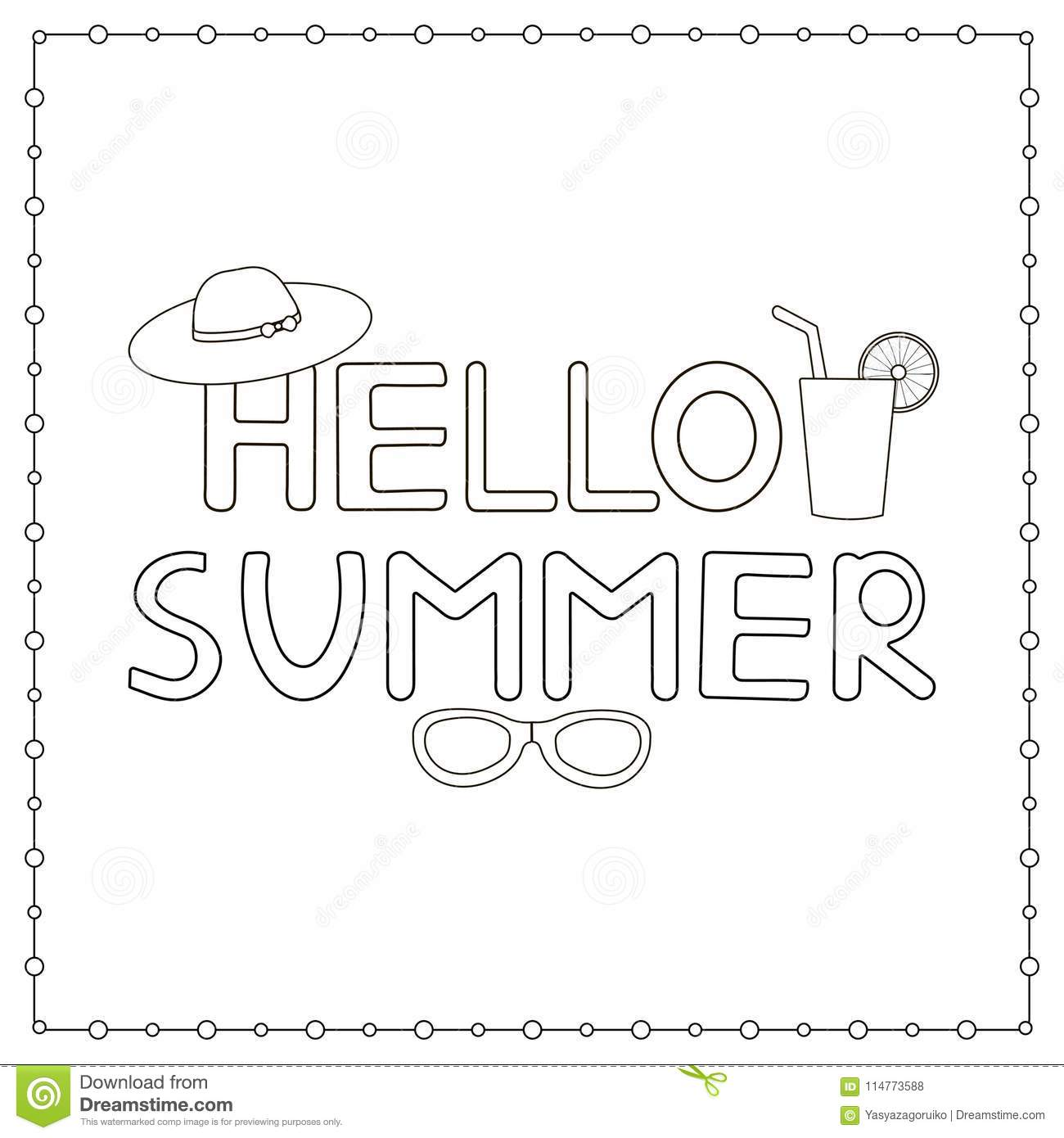 Hand Drawn Text Hello Summer Coloring Page Stock Vector