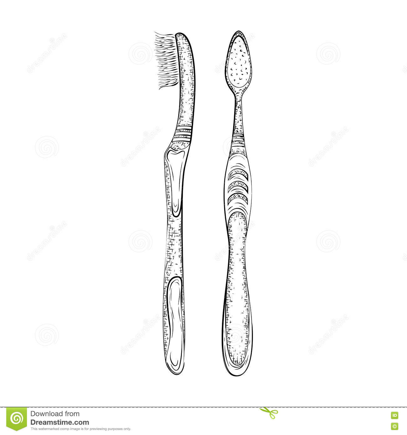 Hand Drawn Toothbrush Stock Vector Illustration Of Pencil