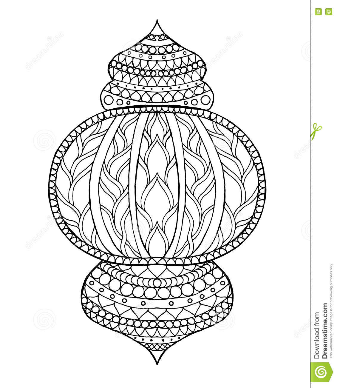 Hand Drawn Traditional Lantern Of Ramadan Stock Vector