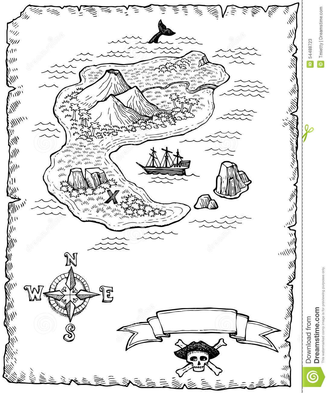Hand Drawn Treasure Map Illustration Stock Vector