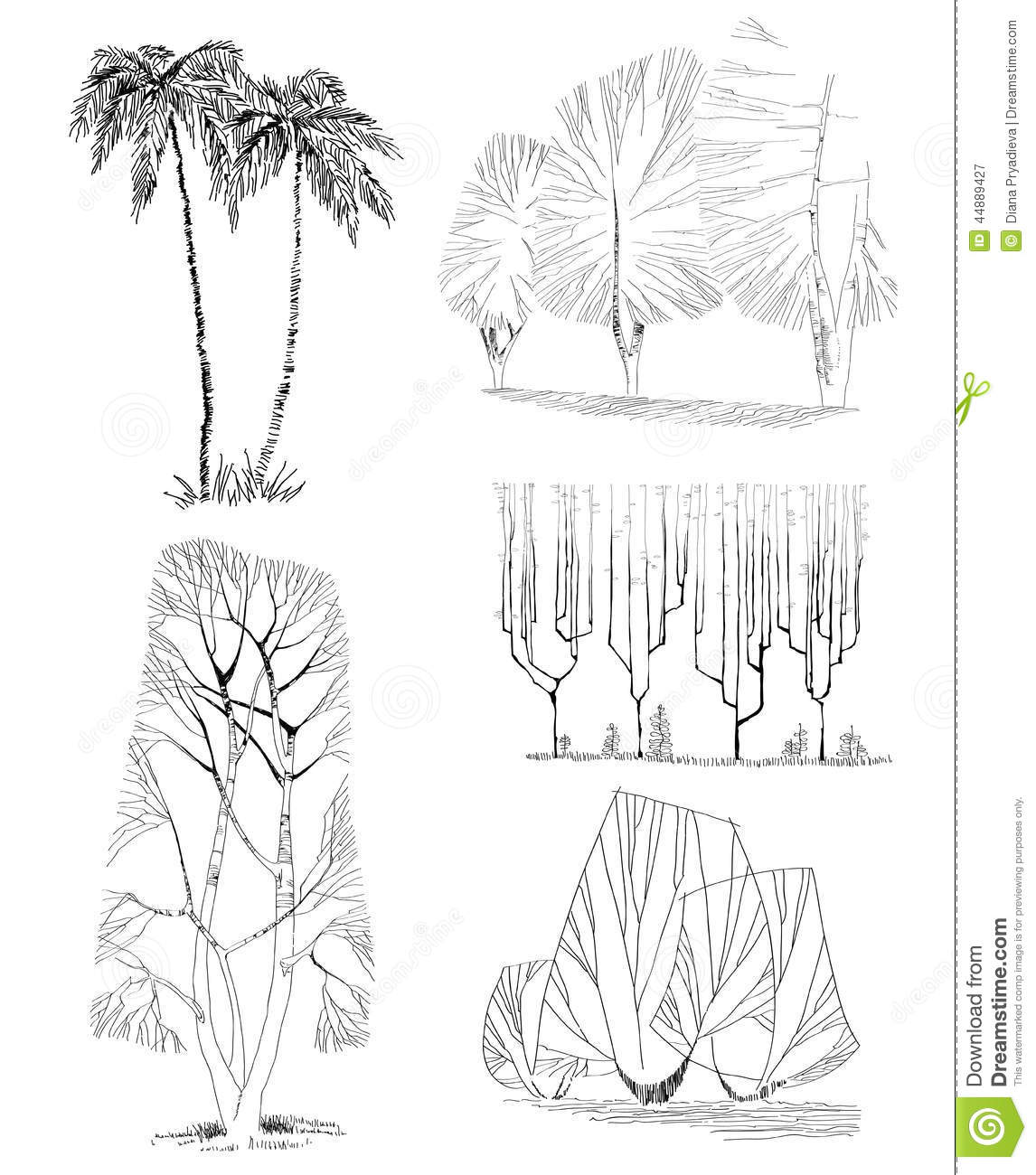 Hand Drawn Trees Isolated Sketch Stock Vector