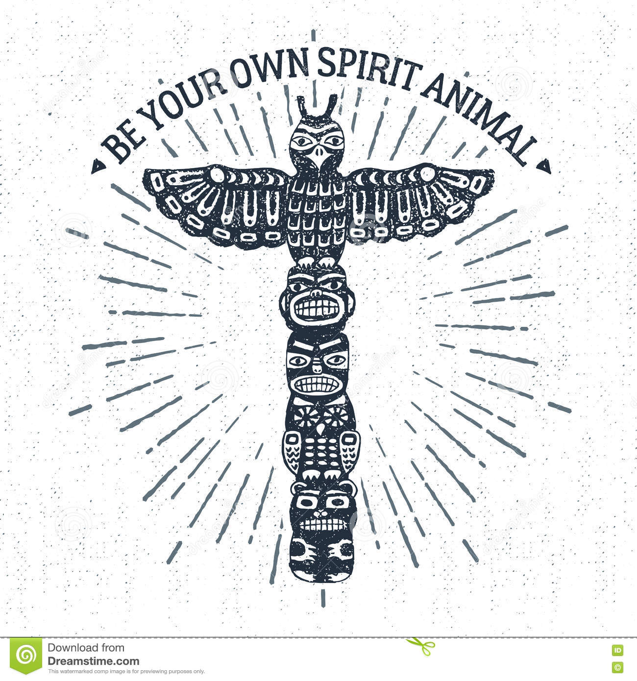 Hand Drawn Tribal Label With Totem Pole Vector Illustration Stock Vector