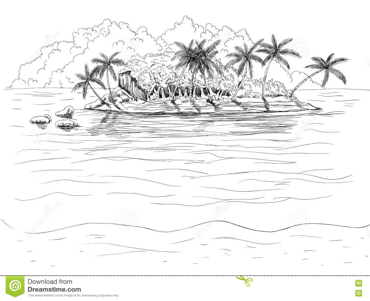 Hand Drawn Tropical Island Stock Vector