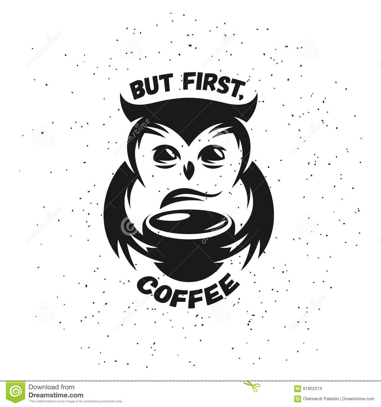 Hand Drawn Typography Coffee Poster Cute Trendy Stock