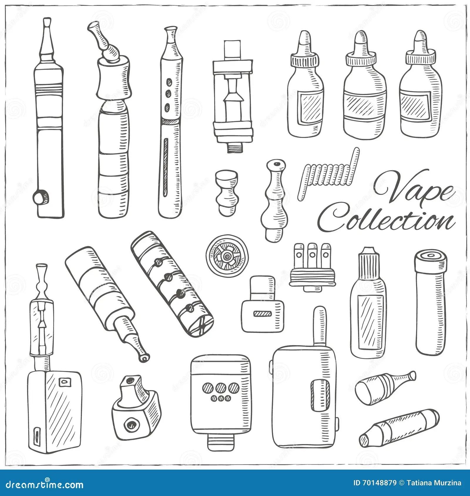 Hand Drawn Vape Symbols Set I Stock Vector