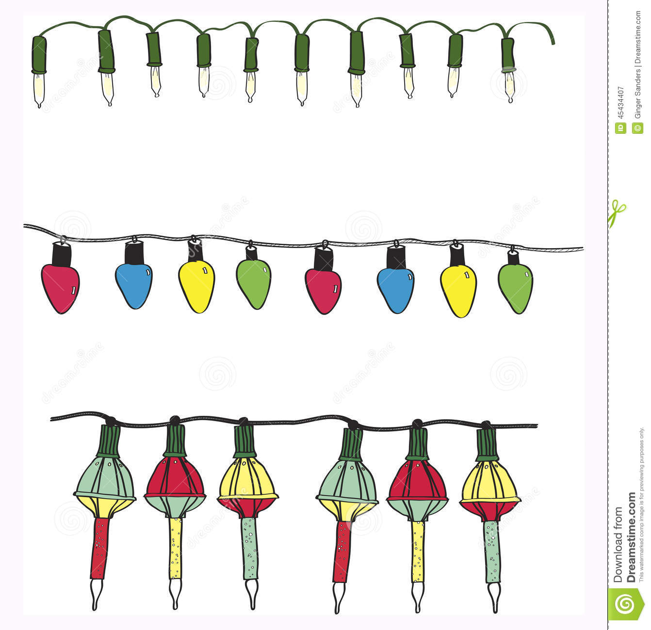 Hand Drawn Variety Electric Christmas Light Strings Vector