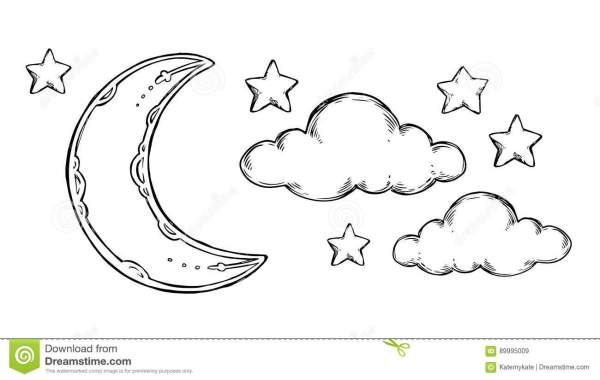 Hand Drawn Vector Elements Good Night Sleeping Moon