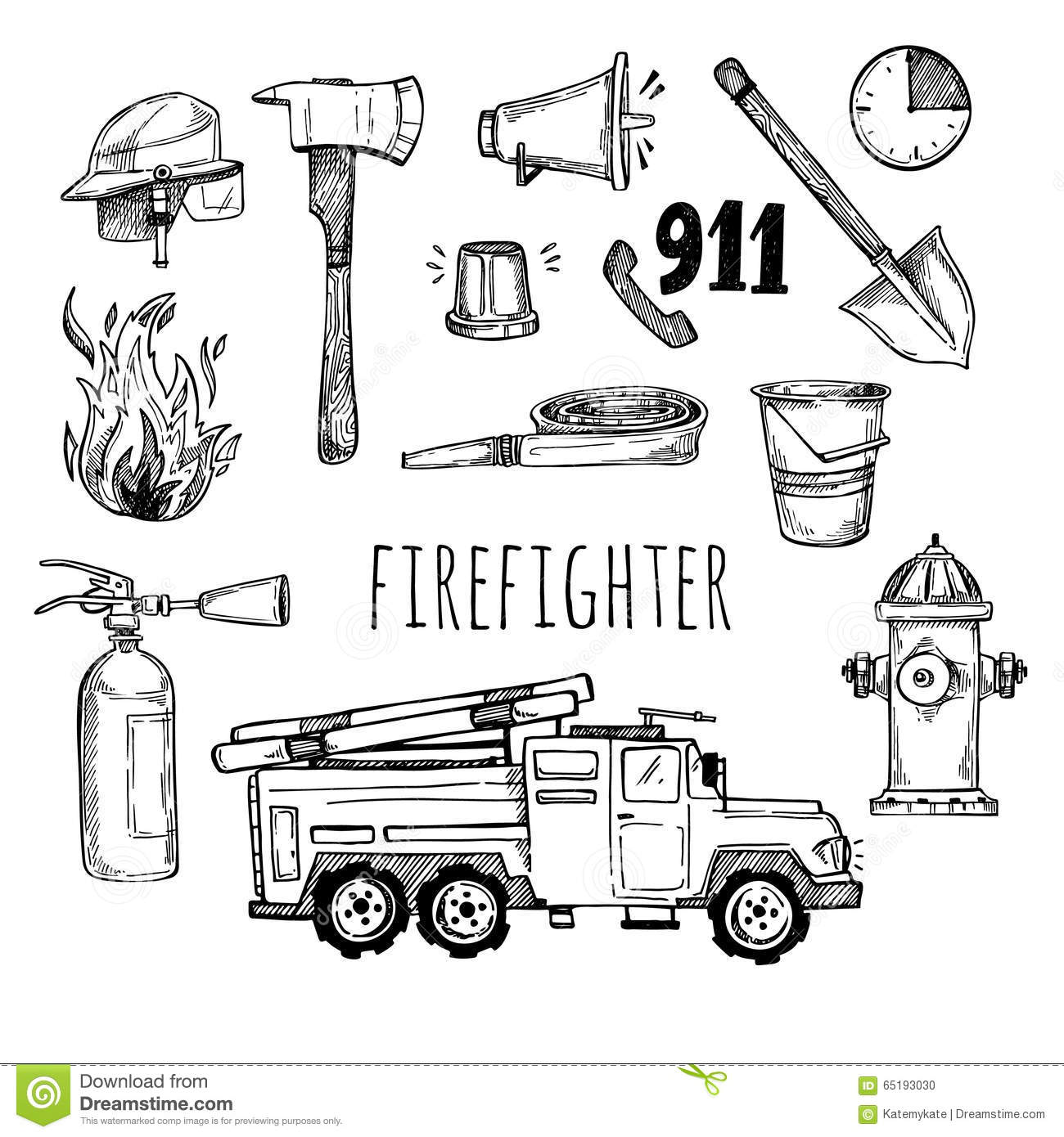 Fireman Icons Vector Cartoon Vector