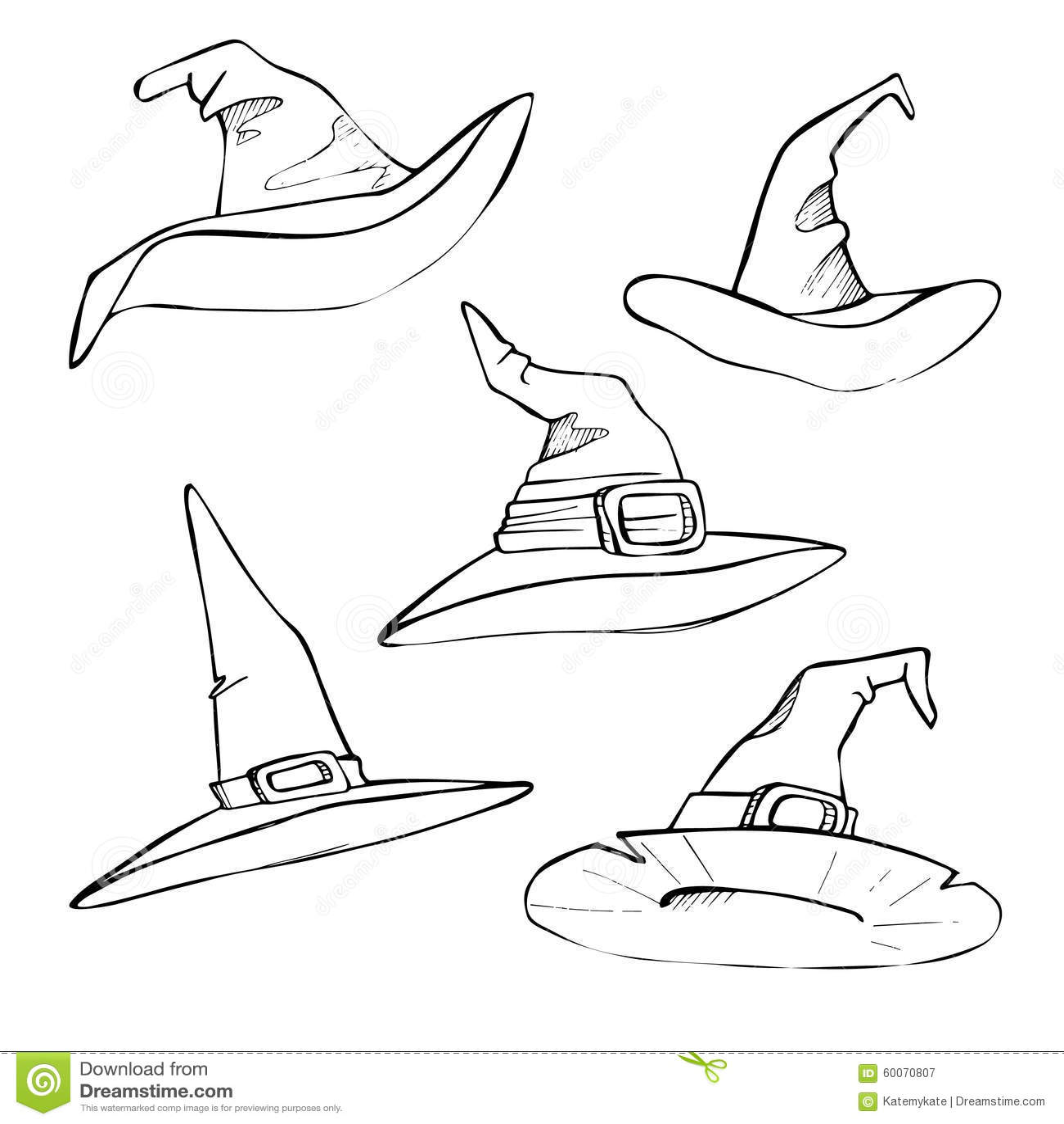 Hand Drawn Vector Illustration Hats Halloween Sketch Stock